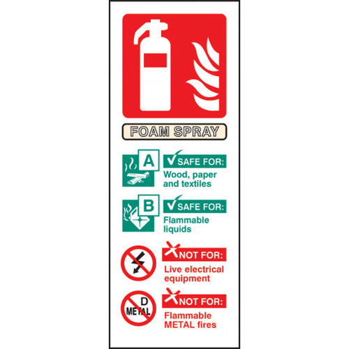 Foam Spray Extinguisher Identification Safety Sign  Available in Rigid Plastic or Self-adhesive Vinyl  Size: 75x200mm