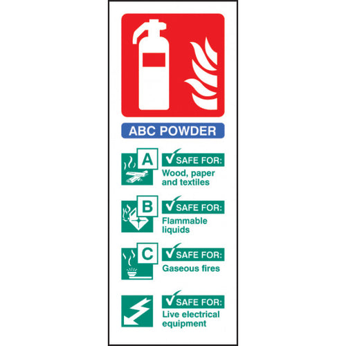 ABC Dry Powder Extinguisher Identification Safety Sign  Available in Rigid Plastic or Self-adhesive Vinyl  Size: 75x200mm