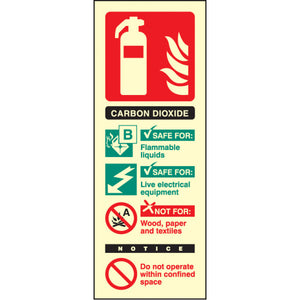 CO2 Extinguisher Identification Safety Sign  Available in Rigid Plastic or Self-adhesive Vinyl  Size: 75x200mm