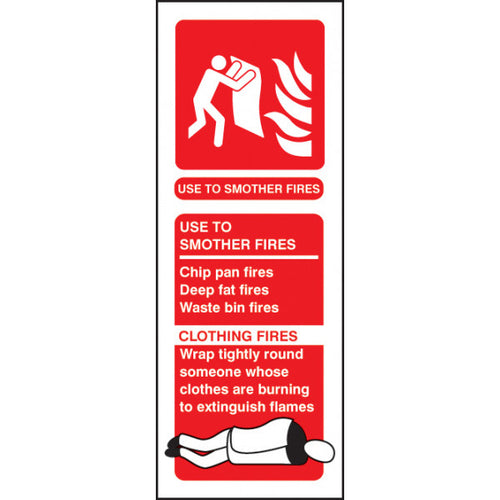 Fire Blanket Identification Safety Sign  Available in Rigid Plastic or Self-adhesive Vinyl  Size: 75x200mm