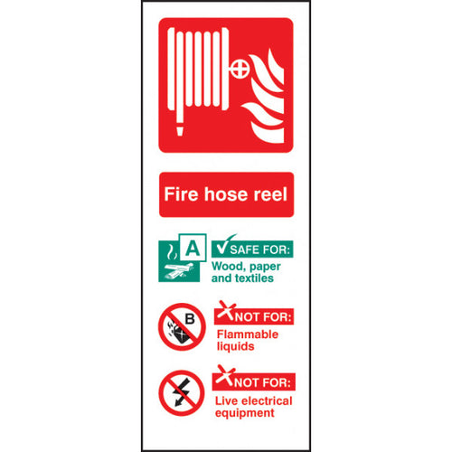 Hose Reel Identification Safety Sign  Available in Rigid Plastic or Self-adhesive Vinyl  Size: 75x200mm