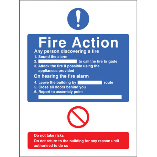 General Fire Action (No Lift in Building) Safety Sign  Available in Rigid Plastic and Self-Adhesive Vinyl  Sizes: 200x150mm and 300x250mm