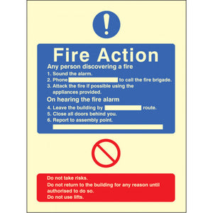 Fire Action with Lift Safety Sign  Available in Rigid Plastic and Self-Adhesive Vinyl  Sizes: 200x150mm and 300x250mm