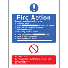 Load image into Gallery viewer, Fire Action with Lift Safety Sign  Available in Rigid Plastic and Self-Adhesive Vinyl  Sizes: 200x150mm and 300x250mm