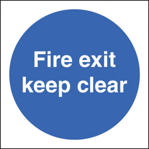 Fire Door Keep Clear Sign  Available in Rigid Plastic and Self-Adhesive Vinyl  Sizes: 80x80mm, 200x200mm and 400x400mm