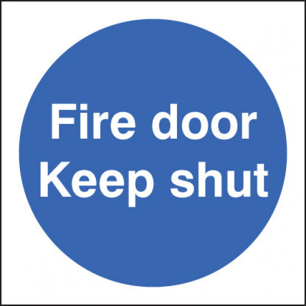 Fire Door Keep Shut Sign  Available in Rigid Plastic and Self-Adhesive Vinyl  Sizes: 80x80mm, 200x200mm and 400x400mm