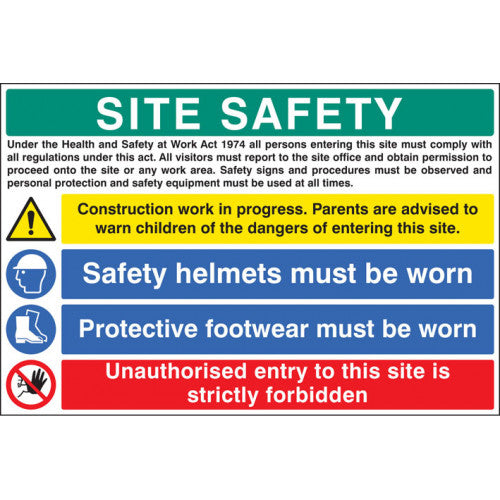 Rigid Plastic Digitally printed site safety sign panel.  Size; 900x600mm  Product code: 16413W