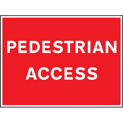 Pedestrian Access. Digitally printed rigid plastic sign panel.  Size: 600x450mm  Product Code: 16472Q