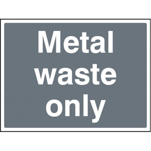 Metal Waste Sign. Digitally printed Rigid Plastic sign panel.  Size: 600x450mm  Product Code: 16601Q