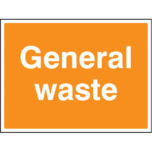 General Waste Sign. Digitally printed Rigid Plastic sign panel.  Size: 600x450mm Product Code: 16608Q