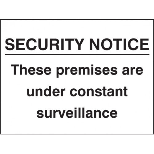 Security Notice sign panel.  Available in Rigid Plastic or Self-adhesive Vinyl.  Size: 400x300mm