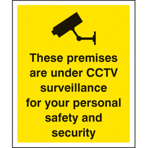 Digitally printed CCTV sign panel available in Rigid Plastic or Self-Adhesive Vinyl.  Sizes: 300x250mm and 400x300mm