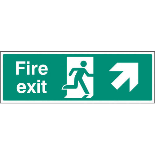 Fire Exit with Arrow Up Right Sign  Available in Rigid Plastic and Self-Adhesive Vinyl  Sizes: 300x100mm, 450x150mm and 600x200mm