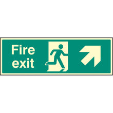Load image into Gallery viewer, Fire Exit with Arrow Up Right Sign  Available in Rigid Plastic and Self-Adhesive Vinyl  Sizes: 300x100mm, 450x150mm and 600x200mm