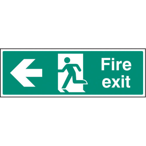 Fire Exit Left Arrow Sign  Available in Rigid Plastic and Self-Adhesive Vinyl  Sizes: 300x100mm, 450x150mm and 600x200mm
