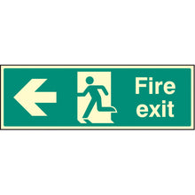 Load image into Gallery viewer, Fire Exit Left Arrow Sign  Available in Rigid Plastic and Self-Adhesive Vinyl  Sizes: 300x100mm, 450x150mm and 600x200mm