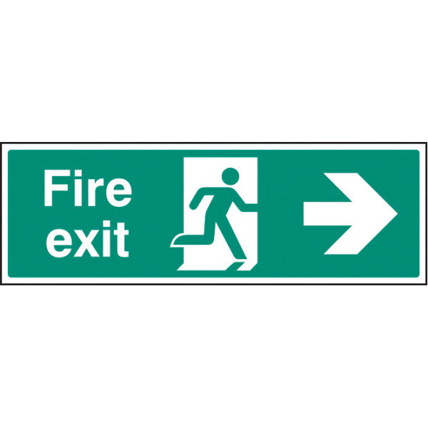 Fire Exit Right Arrow Sign  Available in Rigid Plastic and Self-Adhesive Vinyl  Sizes: 300x100mm, 450x150mm and 600x200mm