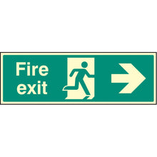 Load image into Gallery viewer, Fire Exit Right Arrow Sign  Available in Rigid Plastic and Self-Adhesive Vinyl  Sizes: 300x100mm, 450x150mm and 600x200mm