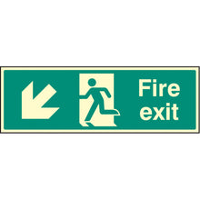 Load image into Gallery viewer, Fire Exit Arrow Down Left Sign  Available in Rigid Plastic and Self-Adhesive Vinyl  Sizes: 300x100mm, 450x150mm and 600x200mm