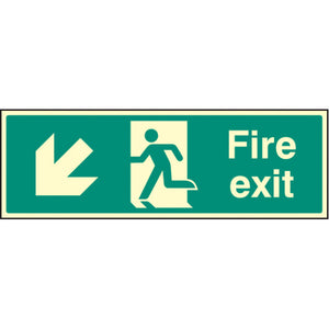 Fire Exit Arrow Down Left Sign  Available in Rigid Plastic and Self-Adhesive Vinyl  Sizes: 300x100mm, 450x150mm and 600x200mm