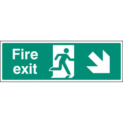 Fire Exit Arrow Down Right Sign  Available in Rigid Plastic and Self-Adhesive Vinyl  Sizes: 300x100mm, 450x150mm and 600x200mm