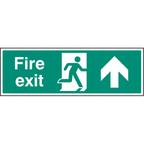 Fire Exit Up Ahead Arrow Sign  Available in Rigid Plastic and Self-Adhesive Vinyl  Sizes: 300x100mm, 450x150mm and 600x200mm