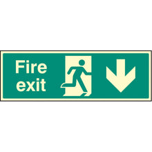 Load image into Gallery viewer, Fire Exit with Arrow Down  Sign  Available in Rigid Plastic and Self-Adhesive Vinyl  Sizes: 300x100mm, 450x150mm and 600x200mm
