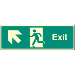 Fire Exit with Arrow Up Left Sign  Available in Rigid Plastic and Self-Adhesive Vinyl  Sizes: 300x100mm, 450x150mm and 600x200mm