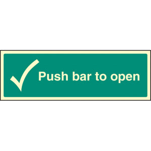Push Bar to Open Sign  Available in Rigid Plastic and Self-Adhesive Vinyl  Sizes: 300x100mm, 450x150mm