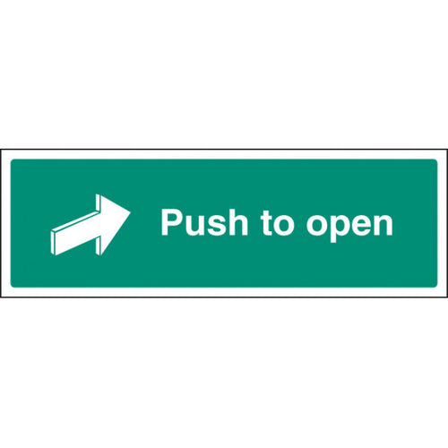 Push to Open Sign  Available in Rigid Plastic and Self-Adhesive Vinyl  Sizes: 300x100mm, 450x150mm