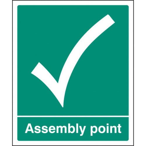Assembly Point Sign. Digitally printed graphics available printed onto Rigid Plastic, Self-adhesive Vinyl or Aluminium.  Sizes: 300x250mm & 600x450mm