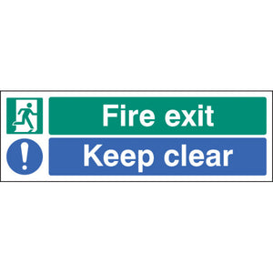Fire Exit Keep Clear Sign  Available in Rigid Plastic and Self-Adhesive Vinyl  Sizes: 300x100mm, 450x150mm