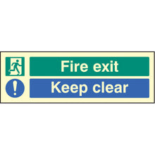 Load image into Gallery viewer, Fire Exit Keep Clear Sign  Available in Rigid Plastic and Self-Adhesive Vinyl  Sizes: 300x100mm, 450x150mm