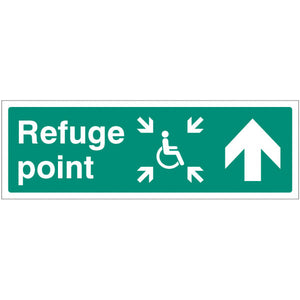 Refuge Point Sign  Available in Rigid Plastic and Self-Adhesive Vinyl  Sizes: 300x100mm, 450x150mm