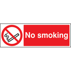 No Smoking. Digitally printed site safety sign panel.  Available in Rigid Plastic or Self-Adhesive Vinyl.  Sizes: 300x100mm & 600x200mm