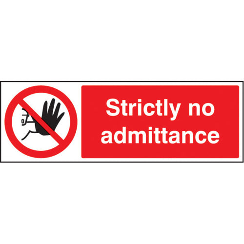 Strictly No Admittance Sign Panel.  Available in Rigid Plastic or Self-Adhesive Vinyl.  Sizes: 300x100mm & 600x200mm