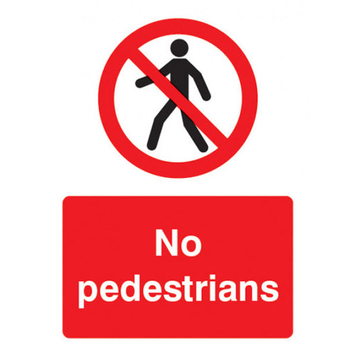 No Pedestrians digitally printed sign panel.  Sizes: 200x150mm and 400x300mm  Available in rigid plastic and self-adhesive vinyl