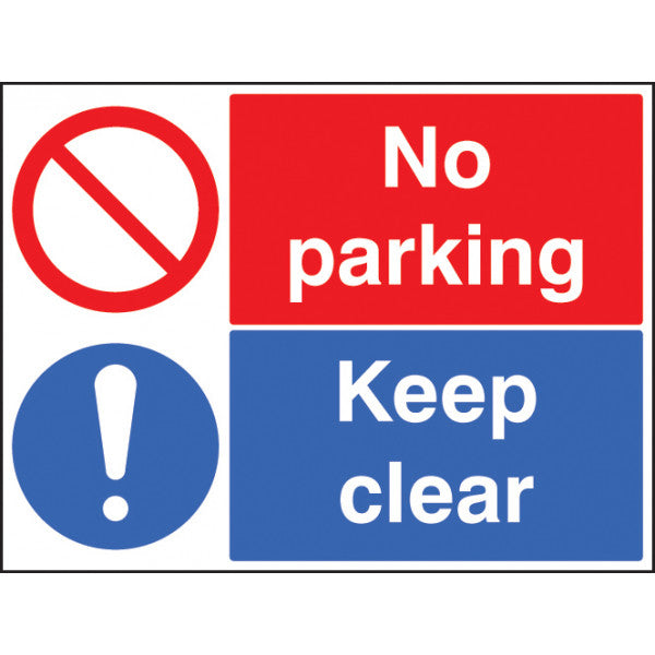No Parking Keep Clear. Digitally printed site safety sign.  Rigid Plastic  Size: 600x450mm