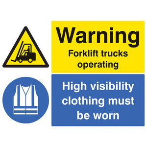 Warning Forklift Trucks Operating High Visibility Clothing Must be Worn Beyond this Point Safety Sign.  Available in Rigid Plastic or Self-Adhesive Vinyl.  Size: 600x450mm