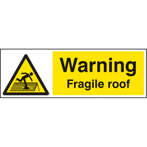Warning Fragile Roof  Digitally printed Rigid Plastic sign or Self-adhesive Vinyl  Sizes: 300x100