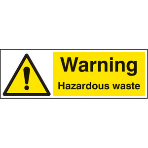Hazardous wate safety sign. Available in 300x100mm and 600x200mm   Available in Rigid Plastic and Self Adhesive Vinyl