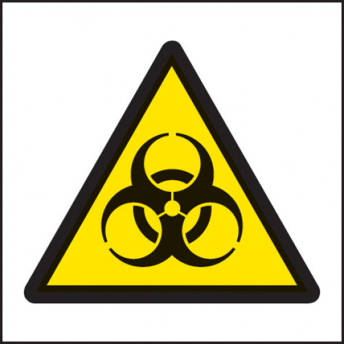 Biohazard Symbol Safety Sign. Sizes: Available in 150x150mm, 25x25mm and 50x50mm   Available in Self Adhesive Vinyl and Self Adhesive labels.