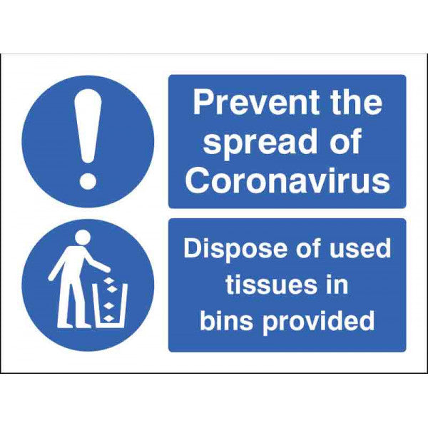 Prevent the spread. Dispose of used tissues in the bin. 150x200mm self-adhesive vinyl  Also available as a pack of 5no.