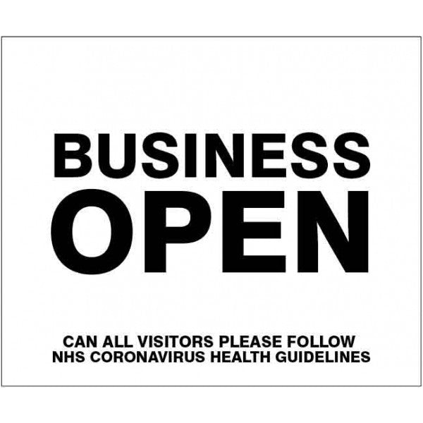 Business open sign. Size: 250x300mm  Available in rigid plastic and self-adhesive vinyl  Product codes:  250x300mm rigid plastic 15165H  250x300mm self-adhesive vinyl 25165H