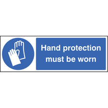 Load image into Gallery viewer, PPE Hand Protection Must be Worn. Sizes: 300x100mm, 600x200, 300x400mm and 150x200mm (portrait)  Available in rigid plastic, self-adhesive vinyl and rigid plastic with adhesive backing.