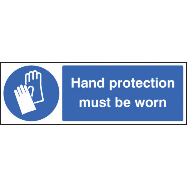 PPE Hand Protection Must be Worn. Sizes: 300x100mm, 600x200, 300x400mm and 150x200mm (portrait)  Available in rigid plastic, self-adhesive vinyl and rigid plastic with adhesive backing.