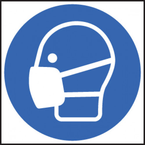 Masks Symbol PPE. Sizes: Available in 200x200mm, 400x400mm, 50mm diameter, 100mm diameter and 50x50mm  Available in Rigid Plastic, Self-Adhesive Vinyl and Self-Adhesive Labels