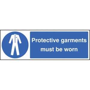 Protective garments must be worn. Sizes: 300x100mm and 600x200mm  Available in rigid plastic and self-adhesive vinyl.