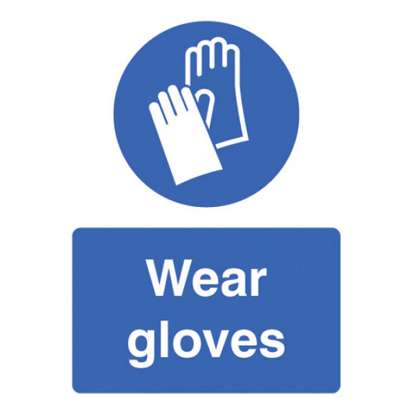 Wear Gloves. Sizes: 150x200mm and 300x400mm  Available in rigid plastic and self-adhesive vinyl  Product codes:  150x200mm rigid plastic 15236E  300x400mm rigid plastic 15236K  150x200mm self-adhesive vinyl 25236E  300x400mm self-adhesive vinyl 25236K