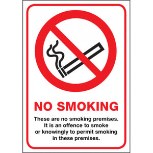 Digitally printed No Smoking sign Rigid Plastic  Size: A4